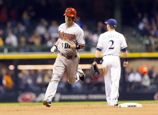 May 6, 2014; Milwaukee, WI, USA; Arizona Diamondbacks second baseman Aaron Hill (2) rounds the bases after hitting a home run during the eighth inning against the Milwaukee Brewers at Miller Park.  Arizona won 7-5.  Mandatory Credit: Jeff Hanisch-USA TODAY Sports