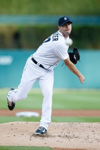 May 5, 2014; Detroit, MI, USA; Detroit Tigers starting pitcher Max Scherzer (37) warms up before the second inning against the Houston Astros at Comerica Park. Mandatory Credit: Rick Osentoski-USA TODAY Sports