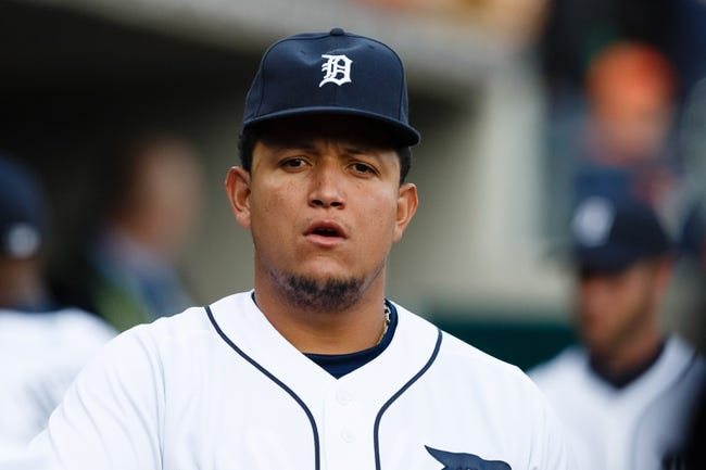 May 5, 2014; Detroit, MI, USA; Detroit Tigers first baseman Miguel Cabrera (24) in the dugout before the game against the Houston Astros at Comerica Park. Mandatory Credit: Rick Osentoski-USA TODAY Sports