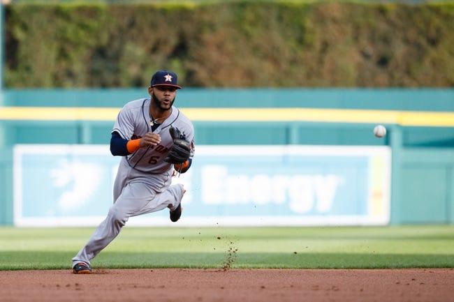 May 5, 2014; Detroit, MI, USA; Houston Astros shortstop Jonathan Villar (6) makes a play on the ball against the Detroit Tigers at Comerica Park. Mandatory Credit: Rick Osentoski-USA TODAY Sports