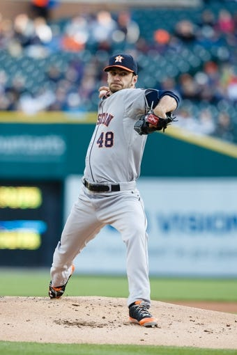 May 5, 2014; Detroit, MI, USA; Houston Astros starting pitcher Jarred Cosart (48) pitches against the Detroit Tigers at Comerica Park. Mandatory Credit: Rick Osentoski-USA TODAY Sports