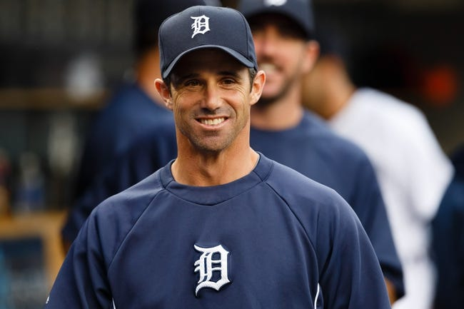 Apr 21, 2014; Detroit, MI, USA; Detroit Tigers manager Brad Ausmus (7) in the dugout before the game against the Chicago White Sox at Comerica Park. Mandatory Credit: Rick Osentoski-USA TODAY Sports