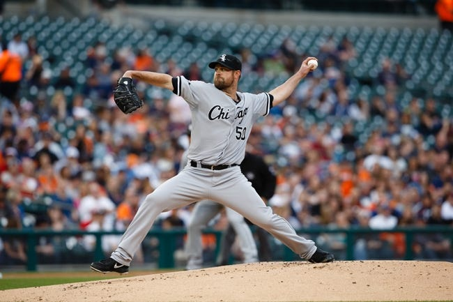 Apr 21, 2014; Detroit, MI, USA; Chicago White Sox starting pitcher John Danks (50) pitches in the first inning against the Detroit Tigers at Comerica Park. Mandatory Credit: Rick Osentoski-USA TODAY Sports