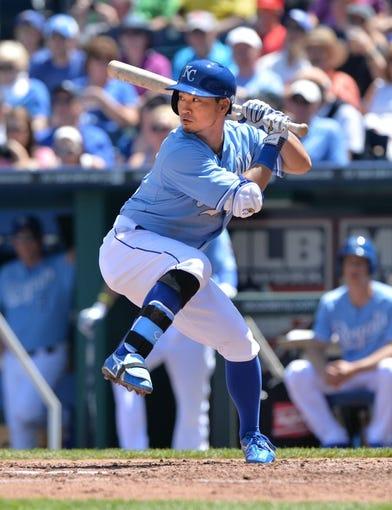 May 4, 2014; Kansas City, MO, USA; Kansas City Royals right fielder Nori Aoki  (23) at bat against the Detroit Tigers during the third inning at Kauffman Stadium. Mandatory Credit: Peter G. Aiken-USA TODAY Sports