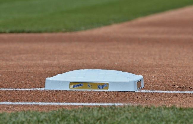 May 4, 2014; Kansas City, MO, USA; A general view of first base before a game between the Kansas City Royals and the Detroit Tigers at Kauffman Stadium. Mandatory Credit: Peter G. Aiken-USA TODAY Sports