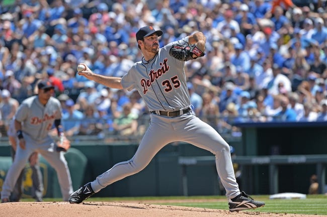 May 4, 2014; Kansas City, MO, USA; Detroit Tigers pitcher Justin Verlander (35) delivers a pitch against the Kansas City Royals during the first inning at Kauffman Stadium. Mandatory Credit: Peter G. Aiken-USA TODAY Sports
