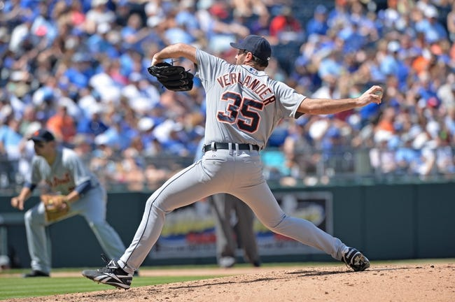 May 4, 2014; Kansas City, MO, USA; Detroit Tigers pitcher Justin Verlander (35) delivers a pitch against the Kansas City Royals during the sixth inning at Kauffman Stadium. Mandatory Credit: Peter G. Aiken-USA TODAY Sports