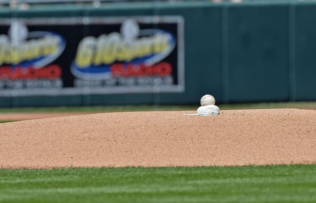 May 4, 2014; Kansas City, MO, USA; A general view of a baseball on the pitching mound before a game between the Kansas City Royals and the Detroit Tigers at Kauffman Stadium. Mandatory Credit: Peter G. Aiken-USA TODAY Sports