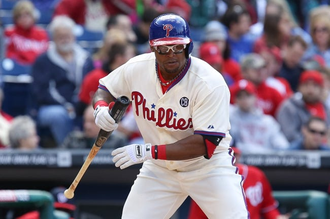 May 4, 2014; Philadelphia, PA, USA; Philadelphia Phillies right fielder Marlon Byrd (3) at the plate in a game against the Washington Nationals at Citizens Bank Park. The Phillies defeated the Nationals 1-0.  Mandatory Credit: Bill Streicher-USA TODAY Sports