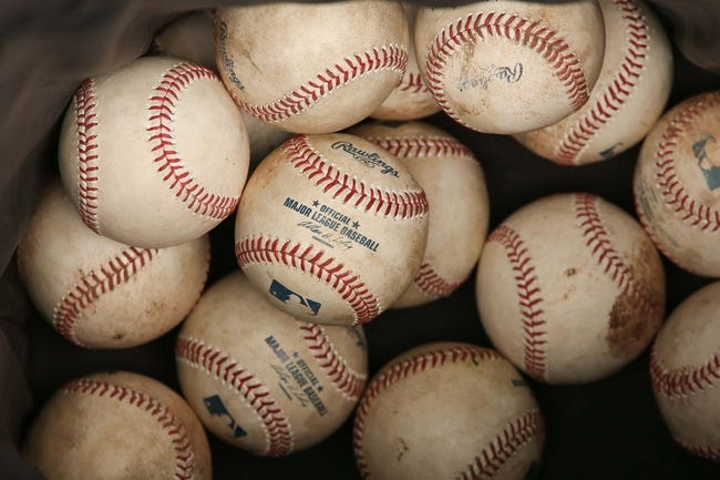 May 4, 2014; Philadelphia, PA, USA; Rawlings official major league baseballs to be used in batting practice prior to a game between the Philadelphia Phillies and Washington Nationals at Citizens Bank Park. Mandatory Credit: Bill Streicher-USA TODAY Sports