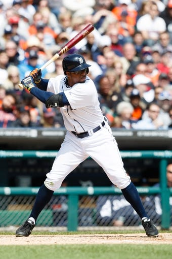 Apr 24, 2014; Detroit, MI, USA; Detroit Tigers left fielder Rajai Davis (20) at bat against the Chicago White Sox at Comerica Park. Mandatory Credit: Rick Osentoski-USA TODAY Sports