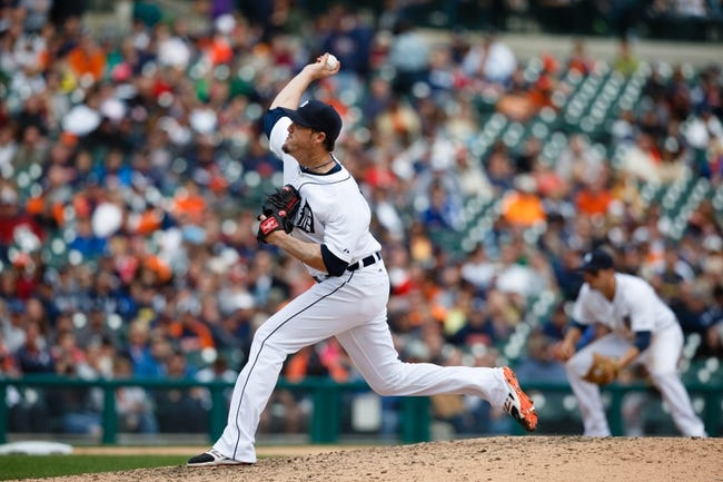 Apr 24, 2014; Detroit, MI, USA; Detroit Tigers relief pitcher Joe Nathan (36) pitches against the Chicago White Sox at Comerica Park. Mandatory Credit: Rick Osentoski-USA TODAY Sports