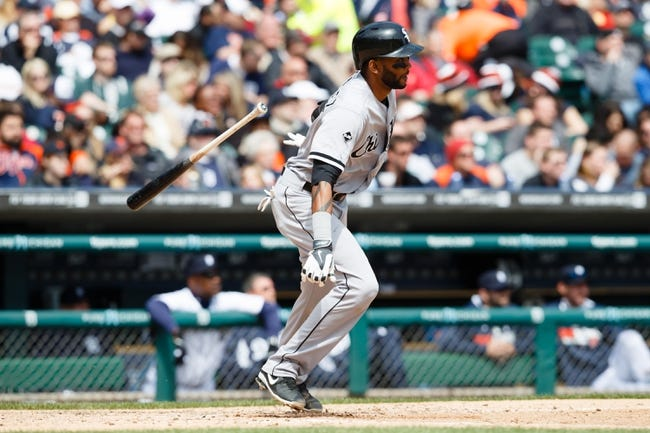 Apr 24, 2014; Detroit, MI, USA; Chicago White Sox shortstop Alexei Ramirez (10) at bat against the Detroit Tigers at Comerica Park. Mandatory Credit: Rick Osentoski-USA TODAY Sports