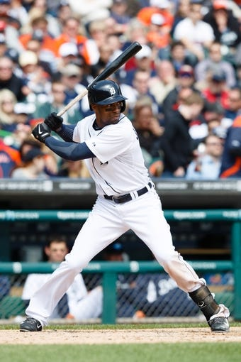 Apr 24, 2014; Detroit, MI, USA; Detroit Tigers center fielder Austin Jackson (14) at bat against the Chicago White Sox at Comerica Park. Mandatory Credit: Rick Osentoski-USA TODAY Sports
