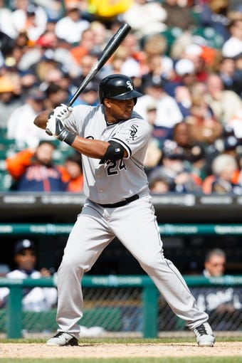 Apr 24, 2014; Detroit, MI, USA; Chicago White Sox right fielder Dayan Viciedo (24) at bat against the Chicago White Sox at Comerica Park. Mandatory Credit: Rick Osentoski-USA TODAY Sports