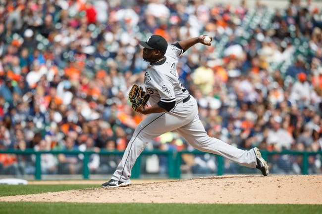 Apr 24, 2014; Detroit, MI, USA; Chicago White Sox relief pitcher Maikel Cleto (39) pitches against the Detroit Tigers at Comerica Park. Mandatory Credit: Rick Osentoski-USA TODAY Sports