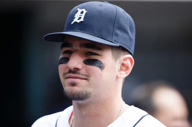 Apr 24, 2014; Detroit, MI, USA; Detroit Tigers third baseman Nick Castellanos (9) in the dugout before the game against the Chicago White Sox at Comerica Park. Mandatory Credit: Rick Osentoski-USA TODAY Sports
