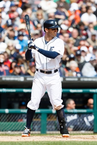 Apr 24, 2014; Detroit, MI, USA; Detroit Tigers second baseman Ian Kinsler (3) at bat against the Chicago White Sox at Comerica Park. Mandatory Credit: Rick Osentoski-USA TODAY Sports
