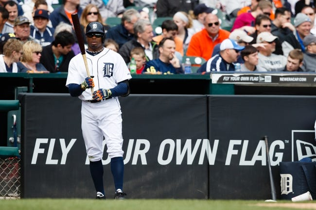Apr 24, 2014; Detroit, MI, USA; Detroit Tigers left fielder Rajai Davis (20) gets set to bat against the Chicago White Sox at Comerica Park. Mandatory Credit: Rick Osentoski-USA TODAY Sports
