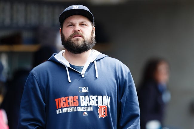 Apr 24, 2014; Detroit, MI, USA; Detroit Tigers relief pitcher Joba Chamberlain (44) in the dugout before the game against the Chicago White Sox at Comerica Park. Mandatory Credit: Rick Osentoski-USA TODAY Sports