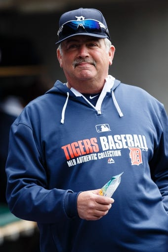 Apr 24, 2014; Detroit, MI, USA; Detroit Tigers pitching coach Jeff Jones (51) in the dugout against the Chicago White Sox at Comerica Park. Mandatory Credit: Rick Osentoski-USA TODAY Sports