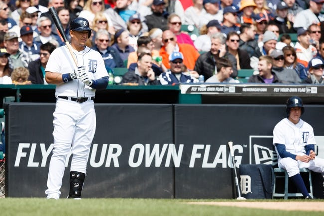 Apr 24, 2014; Detroit, MI, USA; Detroit Tigers first baseman Miguel Cabrera (24) gets set to bat against the Chicago White Sox at Comerica Park. Mandatory Credit: Rick Osentoski-USA TODAY Sports