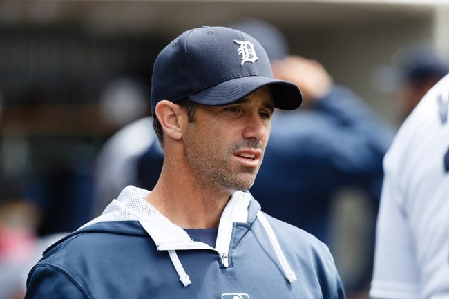 Apr 24, 2014; Detroit, MI, USA; Detroit Tigers manager Brad Ausmus (7) in the dugout during the game against the Chicago White Sox at Comerica Park. Mandatory Credit: Rick Osentoski-USA TODAY Sports