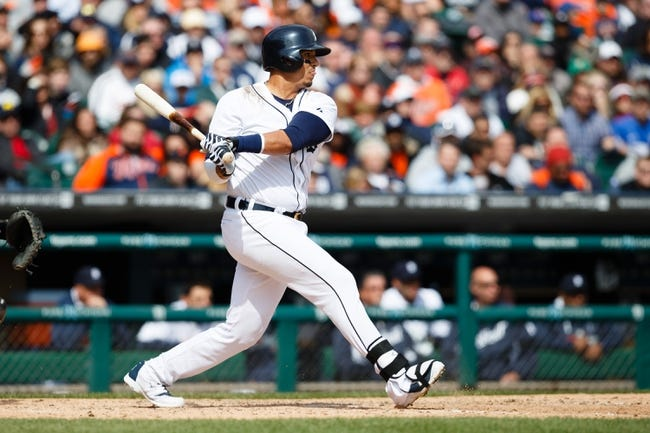 Apr 24, 2014; Detroit, MI, USA; Detroit Tigers designated hitter Victor Martinez (41) at bat against the Chicago White Sox at Comerica Park. Mandatory Credit: Rick Osentoski-USA TODAY Sports