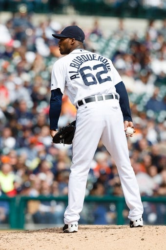 Apr 24, 2014; Detroit, MI, USA; Detroit Tigers relief pitcher Al Alburquerque (62) pitches against the Chicago White Sox at Comerica Park. Mandatory Credit: Rick Osentoski-USA TODAY Sports