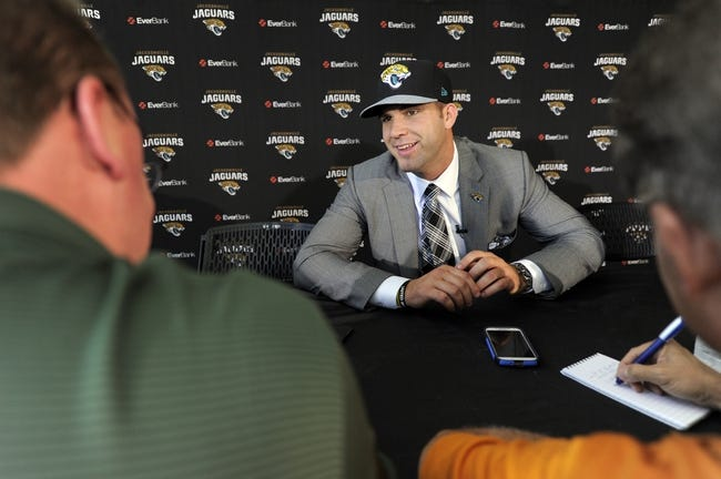 May 9, 2014; Jacksonville, FL, USA; Blake Bortles (Central Florida) addresses the print reporters at the Upper West Touchdown Club at EverBank Field a day after being selected as the third overall pick in the first round of the 2014 NFL draft by the Jacksonville Jaguars.  Mandatory Credit: John David Mercer-USA TODAY Sports