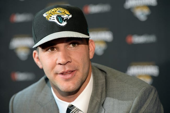 May 9, 2014; Jacksonville, FL, USA; Blake Bortles (Central Florida) addresses the media at the Upper West Touchdown Club at EverBank Field a day after being selected as the third overall pick in the first round of the 2014 NFL draft by the Jacksonville Jaguars.  Mandatory Credit: John David Mercer-USA TODAY Sports