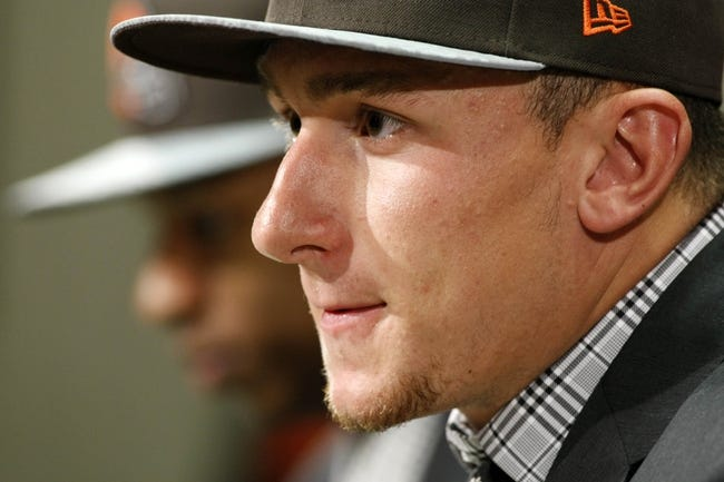 May 9, 2014; Berea, OH, USA; Cleveland Browns first round draft pick quarterback Johnny Manziel (Texas A&M) speaks during a press conference at Browns Headquarters. Mandatory Credit: Joe Maiorana-USA TODAY Sports