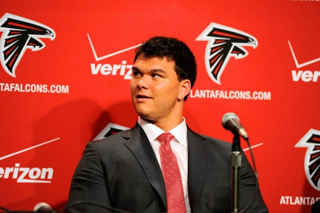 May 9, 2014; Atlanta, GA, USA; Atlanta Falcons first round draft pick tackle Jake Matthews listens during a press conference at Falcons Training Facility. Mandatory Credit: Dale Zanine-USA TODAY Sports