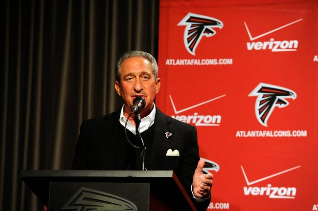 May 9, 2014; Atlanta, GA, USA; Atlanta Falcons team owner Arthur Blank speaks during a press conference for first round draft pick tackle Jake Matthews (not shown) at Falcons Training Facility. Mandatory Credit: Dale Zanine-USA TODAY Sports