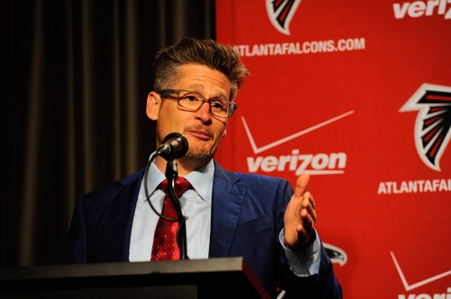 May 9, 2014; Atlanta, GA, USA; Atlanta Falcons general manager Thomas Dimitroff speaks while introducing first round draft pick tackle Jake Matthews (not shown) during a press conference at Falcons Training Facility. Mandatory Credit: Dale Zanine-USA TODAY Sports