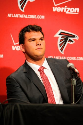 May 9, 2014; Atlanta, GA, USA; Atlanta Falcons first round draft pick tackle Jake Matthews (Texas A&M) during a press conference at Falcons Training Facility. Mandatory Credit: Dale Zanine-USA TODAY Sports