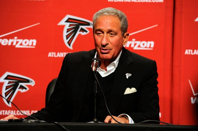 May 9, 2014; Atlanta, GA, USA; Atlanta Falcons team owner Arthur Blank speaks about first round draft pick tackle Jake Matthews (not shown) during a press conference at Falcons Training Facility. Mandatory Credit: Dale Zanine-USA TODAY Sports