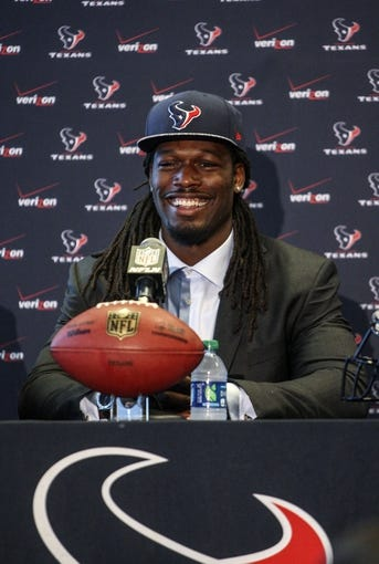 May 9, 2014; Houston, TX, USA; The Houston Texans first-round draft pick Jadeveon Clowney speaks during a press conference at Reliant Stadium. Mandatory Credit: Troy Taormina-USA TODAY Sports
