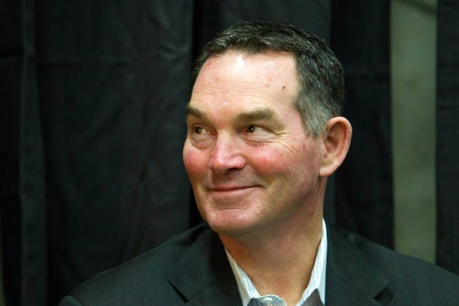 May 9, 2014; Eden Prairie, MN, USA; Minnesota Vikings head coach Mike Zimmer listens to his newest draft picks spreak at Winter Park Fieldhouse. Mandatory Credit: Brad Rempel-USA TODAY Sports