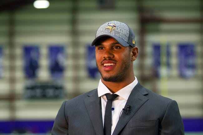 May 9, 2014; Eden Prairie, MN, USA; Minnesota Vikings linebacker Anthony Barr is interviewed by local media at Winter Park Fieldhouse. Mandatory Credit: Brad Rempel-USA TODAY Sports