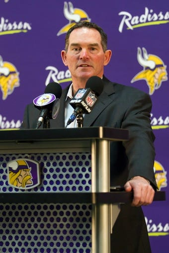 May 9, 2014; Eden Prairie, MN, USA; Minnesota Vikings head coach Mike Zimmer addresses the media at Winter Park Fieldhouse. Mandatory Credit: Brad Rempel-USA TODAY Sports