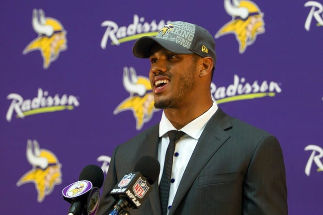 May 9, 2014; Eden Prairie, MN, USA; Minnesota Vikings linebacker Anthony Barr addresses the media at Winter Park Fieldhouse. Mandatory Credit: Brad Rempel-USA TODAY Sports