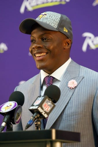 May 9, 2014; Eden Prairie, MN, USA; Minnesota Vikings quarterback Teddy Bridgewater addresses the media at Winter Park Fieldhouse. Mandatory Credit: Brad Rempel-USA TODAY Sports