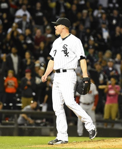 May 9, 2014; Chicago, IL, USA; Chicago White Sox relief pitcher Matt Lindstrom (27) reacts after getting the last batter out against the Arizona Diamondbacks after the ninth inning at U.S Cellular Field. Chicago White Sox defeats the Arizona Diamondbacks 9-3. Mandatory Credit: Mike DiNovo-USA TODAY Sports