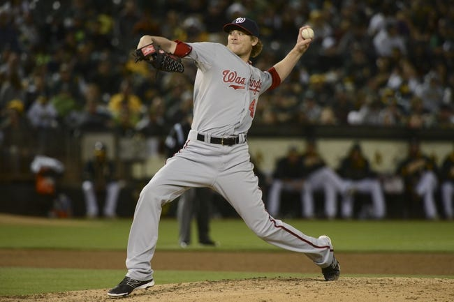 May 9, 2014; Oakland, CA, USA; Washington Nationals relief pitcher Ross Detwiler (48) delivers a pitch against the Oakland Athletics during the fifth inning at O.co Coliseum. Mandatory Credit: Kyle Terada-USA TODAY Sports
