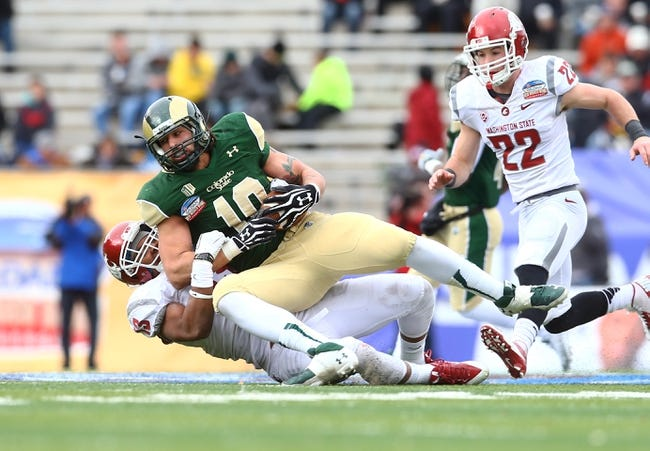 Dec 21, 2013; Albuquerque, NM, USA; Colorado State Rams tight end Crockett Gillmore (10) against the Washington State Cougars during the Gildan New Mexico Bowl at University Stadium. The Rams defeated the Cougars 48-45. Mandatory Credit: Mark J. Rebilas-USA TODAY Sports