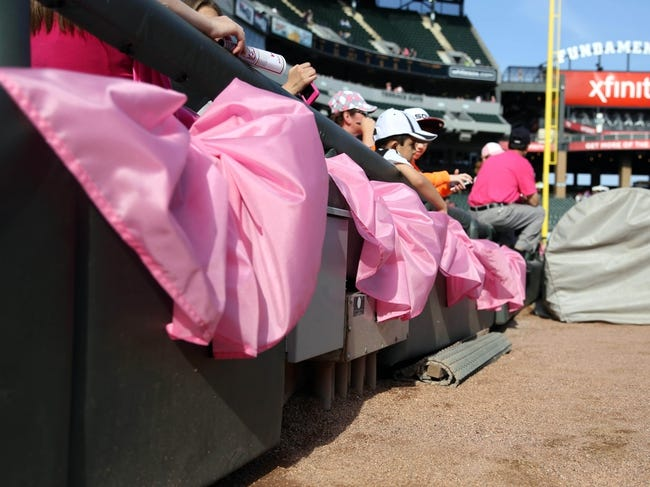 May 10, 2014; Chicago, IL, USA; Detail view of pink banners commemorating breast cancer awareness prior to a game between the Chicago White Sox and the Arizona Diamondbacks at U.S Cellular Field. Mandatory Credit: Dennis Wierzbicki-USA TODAY Sports