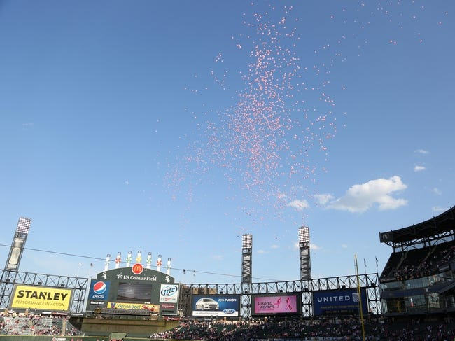 May 10, 2014; Chicago, IL, USA; A general shot of pink balloons being released to commemorate breast cancer awareness prior to a game between the Chicago White Sox and the Arizona Diamondbacks at U.S Cellular Field. Mandatory Credit: Dennis Wierzbicki-USA TODAY Sports