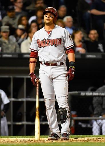 May 9, 2014; Chicago, IL, USA; Arizona Diamondbacks third baseman Martin Prado (14) during the sixth inning at U.S Cellular Field. Mandatory Credit: Mike DiNovo-USA TODAY Sports