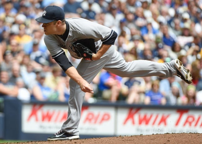 May 11, 2014; Milwaukee, WI, USA; New York Yankees pitcher David Phelps (41) pitches in the first inning against the Milwaukee Brewers at Miller Park. Mandatory Credit: Benny Sieu-USA TODAY Sports